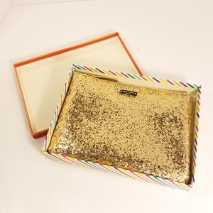 Kate Spade NWOT Gold Little Gia Glitter Clutch